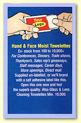 Towelette for Hands & Face sample